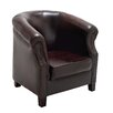 Woodland Imports Cushy Wood / Leather Captians Arm Chair