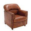Woodland Imports The Wood Leather Arm Chair
