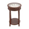 Woodland Imports Wood Glass Clock End Table