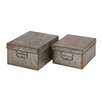 Woodland Imports 2 Piece Rusty and Classic Metal Boxes Set