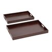 <strong>Woodland Imports</strong> 2 Piece The Suave Wood Real Leather Tray Set
