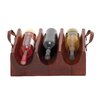Woodland Imports Wood Real Leather 3 Bottle Wine Rack