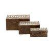 Woodland Imports 3 Piece Lovely and Stylish Wood Metal Box Set