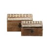 Woodland Imports 2 Piece Unique and Distinctive Wood Metal Box Set
