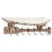 Woodland Imports Distinctive Wood Metal Wall Shelf Hook