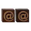 Woodland Imports Unique Wood Symbol Block (Set of 2)