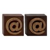 Woodland Imports Unique Wood Symbol Block