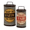 Woodland Imports 2 Piece Metal Can with Lid Set