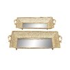 Woodland Imports 2 Piece Intricately Designed Mirror Rectangular Serving Tray Set
