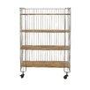 Woodland Imports Modernly Designed Metal Wood Storage Shelf