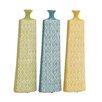 Woodland Imports Long and Uniquely Designed Ceramic Vase (Set of 3)