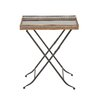 Woodland Imports Unique Metal Marble Tray Table