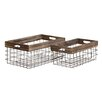 Woodland Imports 2 Piece Classy Styled Metal Wood Basket Set