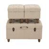 Woodland Imports 3 Piece Spacious and Exquisite Wood Fabric Trunk Set