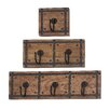 <strong>Woodland Imports</strong> 3 Piece Rustic Wood and Metal Coat Rack Set