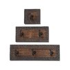 Woodland Imports 3 Piece Wood and Metal Coat Rack Set
