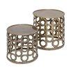 Woodland Imports 2 Piece Metal Stool Set