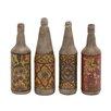 Woodland Imports 4 Piece Hand Painted Terracotta Bottle Sculpture Set
