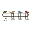 Woodland Imports Quartet of Colorful Singing Sparrows Metal Wall Hooks