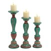 <strong>Woodland Imports</strong> 3 Piece Wood Candlestick Set
