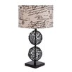 "Woodland Imports Made Rattan 77"" H Table Lamp with Drum Shade"