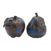 Woodland Imports 2 Piece Ceramic Pear and Apple Décor Sculpture Set