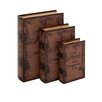 Woodland Imports 3 Piece Leather Book Box Set