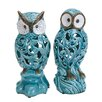 Woodland Imports 2 Piece Decorative Ceramic Owl Figurine Set