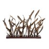 Woodland Imports Aviary Bloomed Rustic Bamboo Leaves Table Art Sculpture