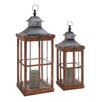 Woodland Imports 2 Piece Wood and Metal Glass Lantern Set