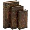 Woodland Imports 3 Piece Decorative Wood Fabric Book Box Set