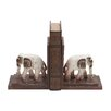 Woodland Imports Traditionally Sculpted Polystone Elephants Wooden Book Ends (Set of 2)
