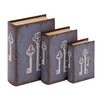 Woodland Imports 3 Piece Antique Key Wood and Vinyl Book Set