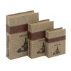 Woodland Imports 3 Piece Burlap Book Box Set