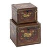 <strong>Woodland Imports</strong> 2 Piece Wooden Leather Storage Box Set