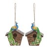 <strong>Woodland Imports</strong> 2 Piece Peacock Hanging Birdhouse Set