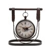 <strong>Woodland Imports</strong> Elegant Metal Leather Strap Styled Table Clock