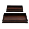 Woodland Imports 2 Piece Wood Serving Tray Set