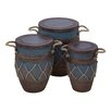 <strong>Woodland Imports</strong> 3 Piece Metal Container Pot Set