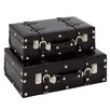 Woodland Imports 2 Piece Wood Trunk Set