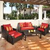 RST Outdoor Deco  6 Piece Loveseat and Club Deep Seating Group with with Cushions