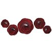 <strong>Fetco Home Decor</strong> 5 Piece Shawnee Magenta Roses Wall Décor Set