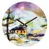 DENY Designs Ginette Fine Art Cabin In The Snow Wall Clock