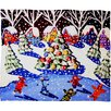 DENY Designs Renie Britenbucher Christmas Ice Skaters Plush Fleece Throw Blanket