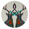 DENY Designs Sharon Turner Poinsettia Deer Wall Clock