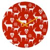 DENY Designs Natt Christmas Deer Wall Clock
