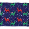 DENY Designs Zoe Wodarz Geo Pop Deer Blue Plush Fleece Throw Blanket