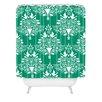 DENY Designs Jacqueline Maldonado Christmas Paper Cutting Green Woven Polyester Shower Curtain
