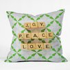 DENY Designs Happee Monkee Joy Peace Love Throw Pillow
