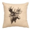 Wooded River Moose Profile Linen Pillow
